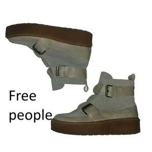 FREE PEOPLE Rare Hightop Leather Buckle Booties 9